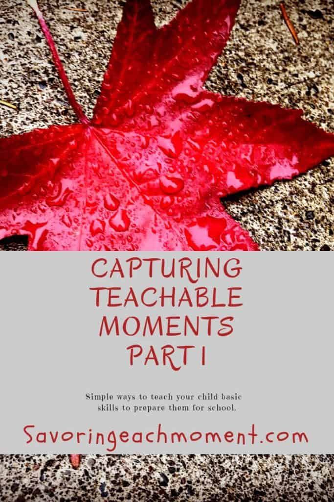 Red maple leaf with raindrops behind the title Capturing Teachable Moments